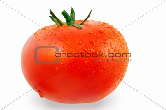 Tomato with drops of water (with Clipping Path)