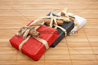 Three gifts on bamboo mat