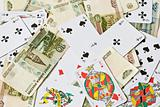 Playing cards and bank notes