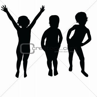 Three children silhouettes