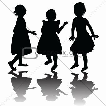 Three girls silhouettes
