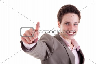 young man smiling, with thumb up, isolated on white, studio shot