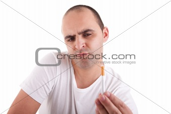 man torn between smoking and not smoking