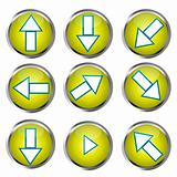 Yellow Buttons for web design, arrow icons set
