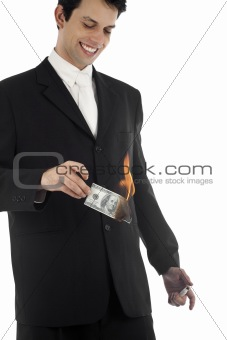 Business Man Burning Money
