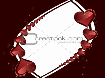Frame for congratulations with hearts