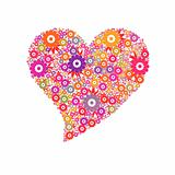 Heart with colorful flowers