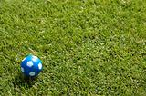 Small blue ball on green soccer field