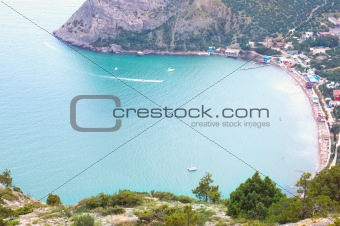 Beautiful view on bay with beach in Crimea, Novyi Svet.