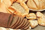 Variety of Bread, pastries and sack with grains