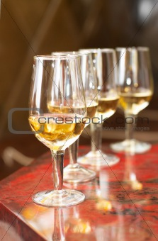 Champagne glasses on celebratory table