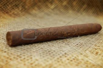 Cuban cigar on hessian canvas