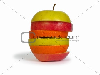 Slices of apples and orange as one fruit.