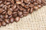 Coffee beans on bagging material