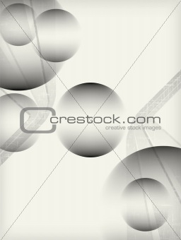 Grey lined background with spheres