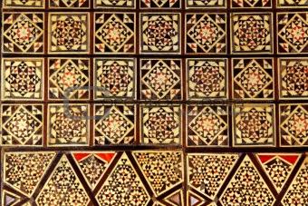 Asian handcraft inlaid mosaic wood box cover