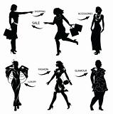 Fashion Shopping Woman Silhouettes