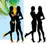 Beautiful Bikini Girls Silhouette Set