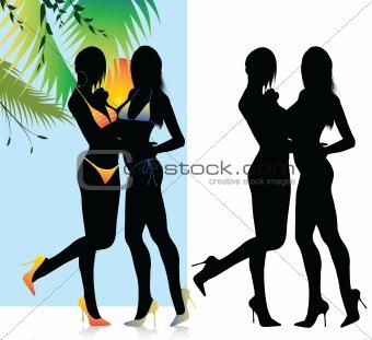 Beautiful Bikini Girls Silhouette Set