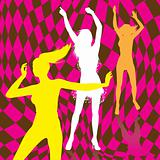 Retro dancing girl silhouettes