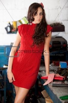 Fashion shot in auto repair shop.