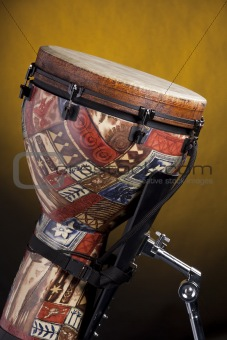 African Djembe Drum  On Yellow