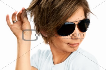 Beautiful girl with big glasses in sunlight