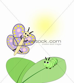 Caterpillar and Butterfly.