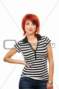 caucasian woman over white