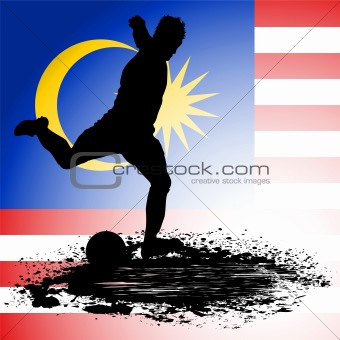 Malaysia Flag with Soccer man