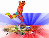 Russia Flag with Soccer man