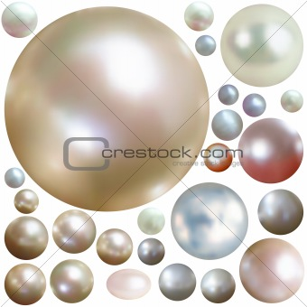 Collection of color pearls isolated on white.