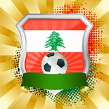 Shield with flag of Lebanon