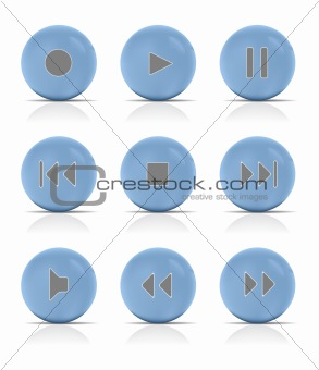 Blue button music. Vector Illustration.