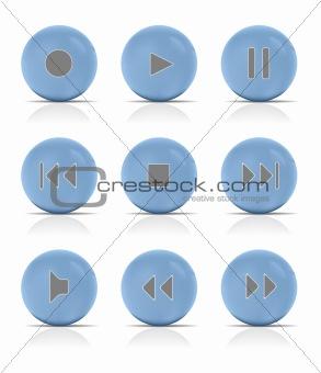 Blue button music. Vector Illustration.