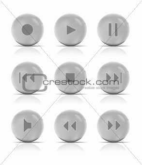 Gray button music. Vector Illustration.