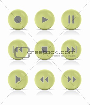 Green button music. Vector Illustration.