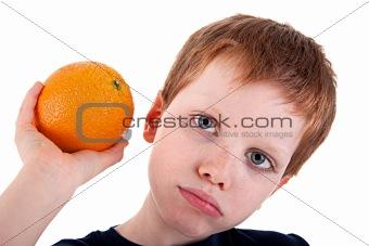 boy with an orange