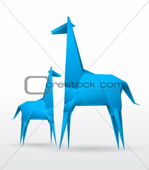 Vector origami giraffes