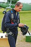 Portrait of the parachutist in overalls 