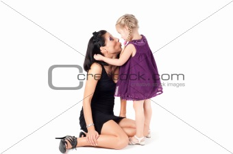 Portrait of happy cheerful woman with little girl