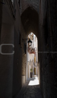Alleyway in Monopoli Oldtown. Apulia.