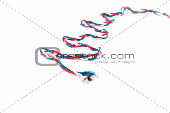 three russian flag color complex patchcords over white backgroun