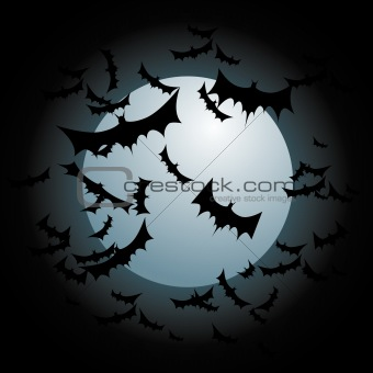 Bats Flying Full Moon