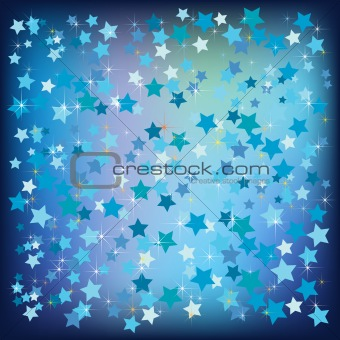 abstract christmas stars background blue