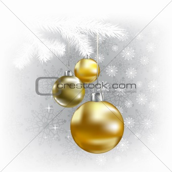 Christmas balls and snowflakes on a white background