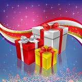 christmas gifts on a abstract color background