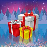 christmas gifts on a woods background