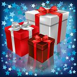 christmas gifts on abstract stars background