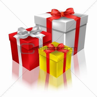Christmas gifts with reflection on a white background